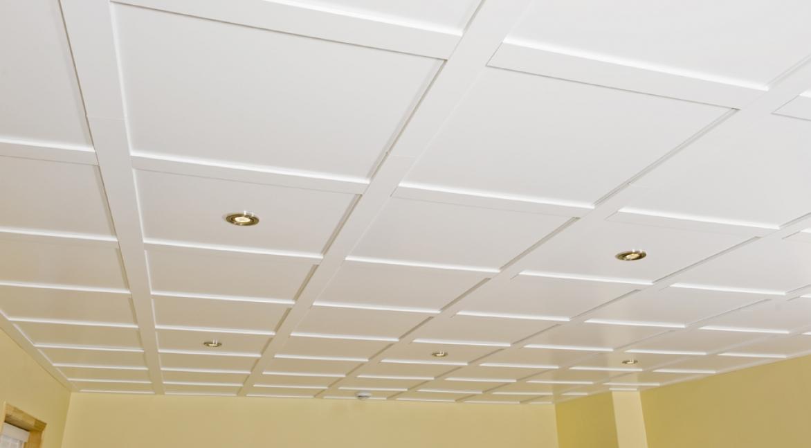 Suspended ceiling tile embassy 2ft x 2ft white for Plafond bois salle de bain