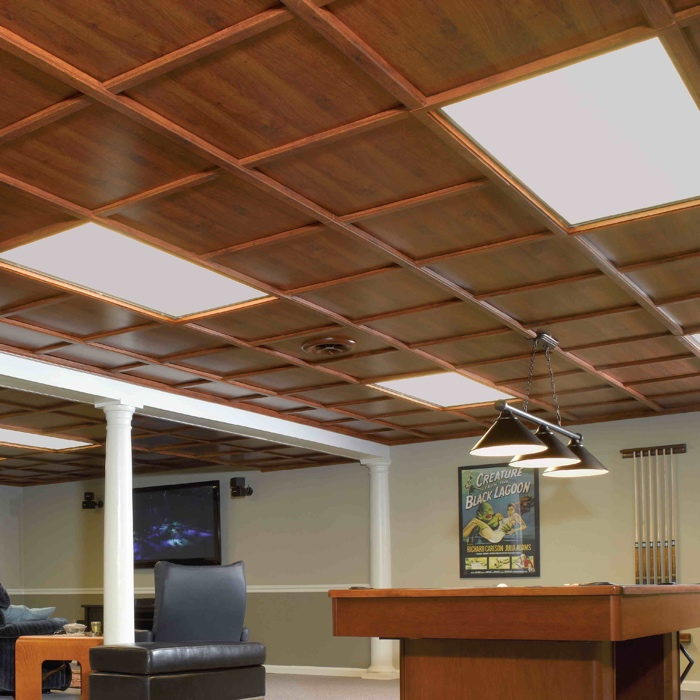 woodtrac suspended ceiling in abbey oak - What Is A Drop Ceiling